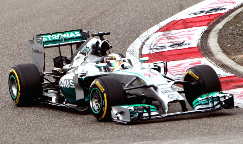 Mercedes AMG Petronas British driver Lewis Hamilton drives during the the Formula One Chinese Grand Prix in Shanghai, east China, on April 20, 2014. Hamilton won .