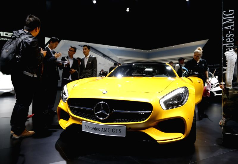 Photo taken on April 20, 2015 shows an unmanned concept car of Benz displayed in the Auto Shanghai 2015, east China's Shanghai. A total of 1,343 complete vehicles ...