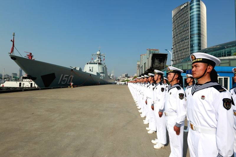 SHANGHAI, April 23, 2017 - A  farewell ceremony of a Chinese naval fleet is held in Shanghai, east China, April 23, 2017. A fleet of three Chinese naval ships left Shanghai Sunday morning for public ...