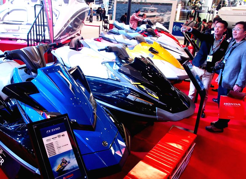 People visit the 20th China International Boat Show in east China's Shanghai Municipality, April 9, 2015. The four-day show, which attracted 550 exhibitors both ...