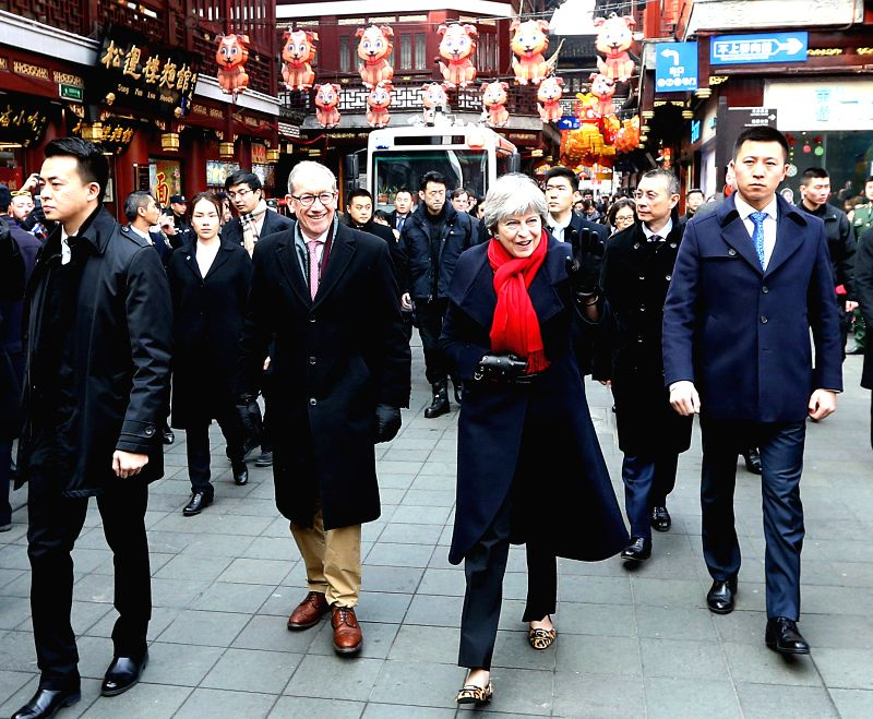 SHANGHAI, Feb. 2, 2018 - British Prime Minister Theresa May visits the Yuyuan Garden in Shanghai, east China, Feb. 2, 2018. - Theresa May