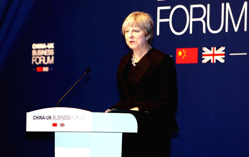 SHANGHAI, Feb. 2, 2018 - British Prime Minister Theresa May attends the China-UK Business Forum in Shanghai, east China, Feb. 2, 2018. - Theresa May