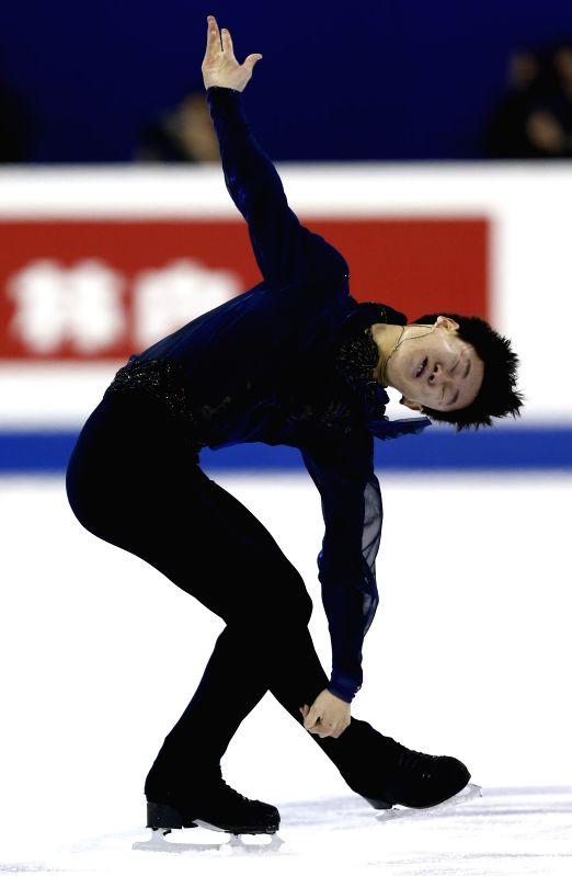Denis Ten of Kazakhstan competes during Men's Free Skating segment in ISU World Figure Skating Championships 2015 at Crown Indoor Stadium, Oriental Sports Center ...