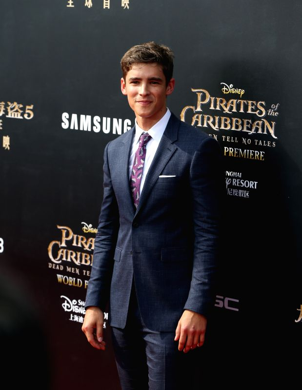 "SHANGHAI, May 11, 2017 - Actor Brenton Thwaites attends the global premiere of Hollywood film ""Pirates of the Caribbean: Dead Men Tell No Tales"", in Shanghai, China, May 11, 2017. ... - Brenton Thwaites"
