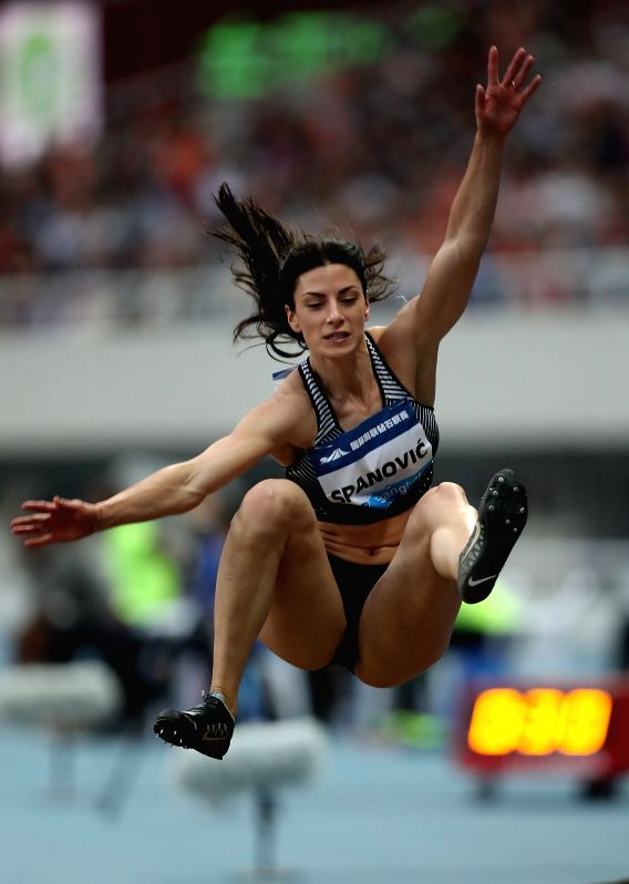 SHANGHAI, MAY 14, 2016 - Ivana Spanovic of Serbia competes during Women's Long Jump competition at 2016 IAAF Diamond League in Shanghai, China on May 14, 2016. Ivana Spanovic claimed the title with ...