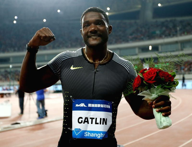 SHANGHAI, MAY 14, 2016 - Justin Gatlin of the United States celebrates after Men's 100m race at 2016 IAAF Diamond League in Shanghai, China on May 14, 2016. Justin Gatlin claimed the title with 9.94 ...