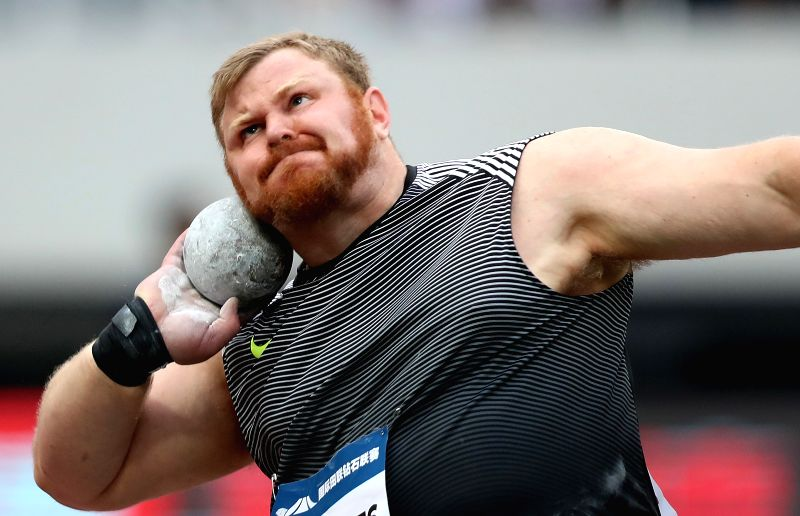 SHANGHAI, MAY 14, 2016 - Kurt Roberts of the Untied States competes during Men's Shot Put competition at 2016 IAAF Diamond League in Shanghai, China on May 14, 2016. Kurt Roberts claimed the title ...