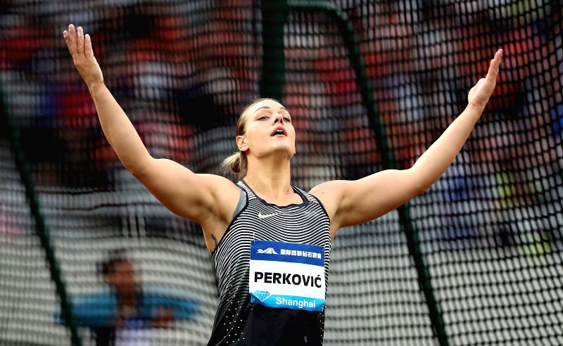 SHANGHAI, MAY 14, 2016 - Sandra Perkovic of Croatia celebrates during Women's Discus Throw competition at 2016 IAAF Diamond League in Shanghai, China on May 14, 2016. Sandra Perkovic claimed the ...