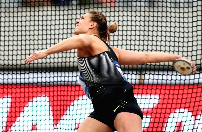 SHANGHAI, MAY 14, 2016 - Sandra Perkovic of Croatia competes during Women's Discus Throw competition at 2016 IAAF Diamond League in Shanghai, China on May 14, 2016. Sandra Perkovic claimed the title ...
