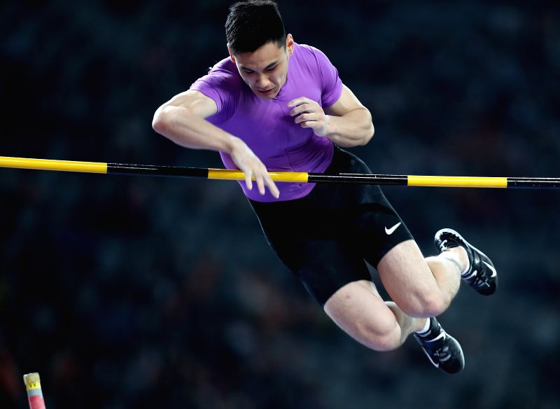 SHANGHAI, MAY 14, 2016 - Yao Jie of China competes during Men's Pole Vault competition at 2016 IAAF Diamond League in Shanghai, China on May 14, 2016. Yao took the 6th place with 5.62 metres.