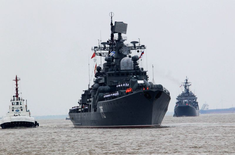 Russian anti-surface destroyer Bystry arrives at a naval port in Shanghai, east China, May 18, 2014. Six ships from the Russian Pacific Fleet will take part in the .