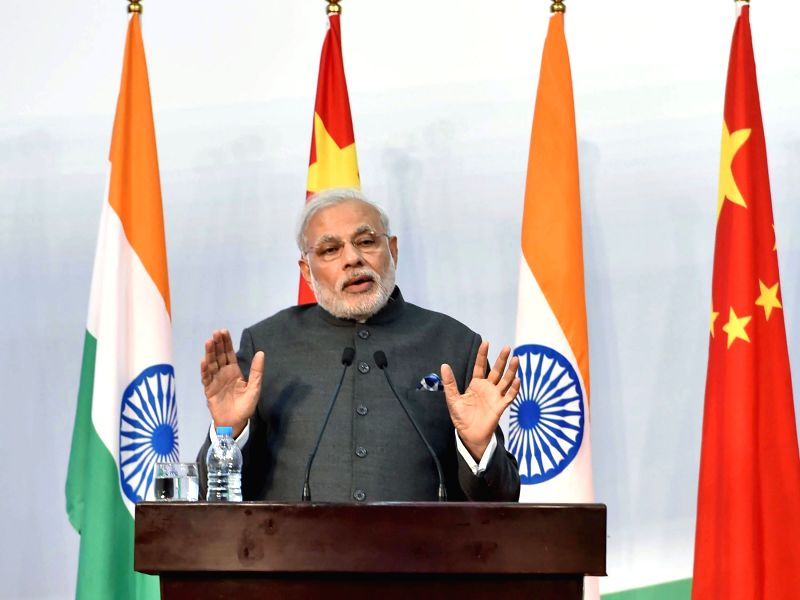 Prime Minister Narendra Modi addresses at the launch of the Centre for Gandhian and Indian Studies, at Fudan University, in Shanghai, China on May 16, 2015. - Narendra Modi
