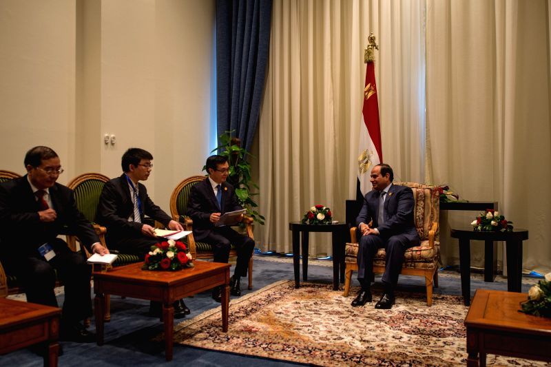 SHARM EL SHEIKH(EGYPT), March 14, 2015 Egypt's President Abdel Fattah al-Sisi (1st R) meets with Gao Hucheng (2nd R), Special Envoy of Chinese President Xi Jinping and Chinese Minister of ...