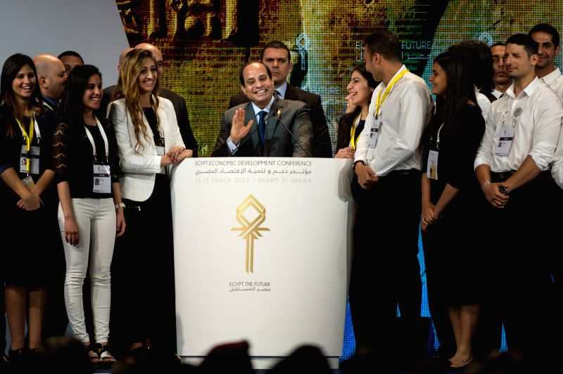 Egypt's President Abdel Fattah al-Sisi (C) makes a statement on Egypt Economic Development Conference (EEDC) held in Sharm el Sheikh, a Red Sea resort city ...