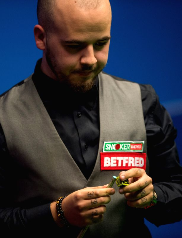 SHEFFIELD, April 17, 2017 - Luca Brecel of Belgium competes during his first round match against Marco Fu of Hong Kong of China during the World Snooker Championship 2017 at the Crucible Theatre in ...