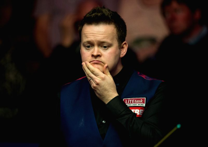 SHEFFIELD, April 17, 2017 - Shaun Murphy of England reacts during his first round match against Yan Bingtao of China at the World Snooker Championship 2017 in Sheffield, Britain, on April 17, 2017.