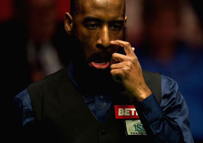 SHEFFIELD, April 19, 2017 - Rory McLeod of England competes during his first round match against Judd Trump of England during the World Snooker Championship 2017 at the Crucible Theatre in Sheffield, ...
