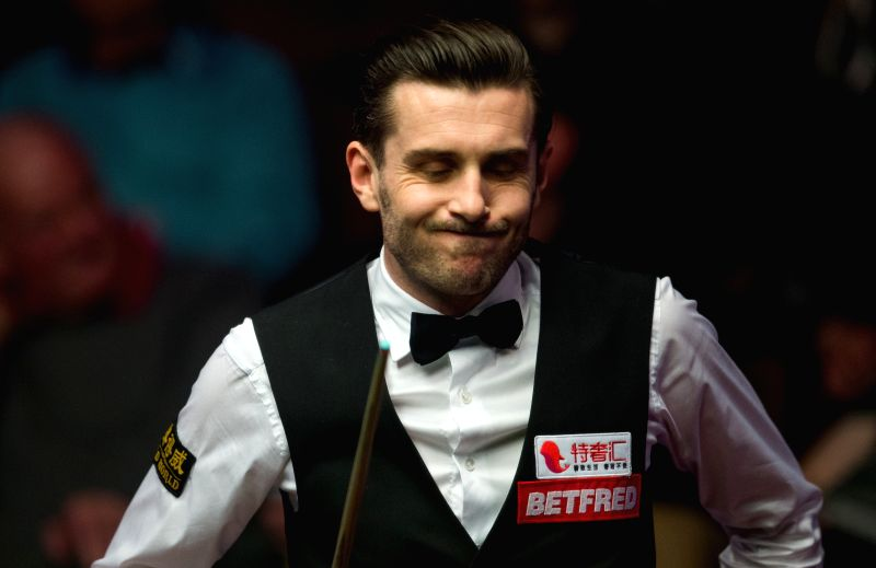 SHEFFIELD, April 26, 2017 - Mark Selby from England looks reacts during his quarterfinal match against Marco Fu from Hong Kong of China during the World Snooker Championship 2017 at the Crucible ...