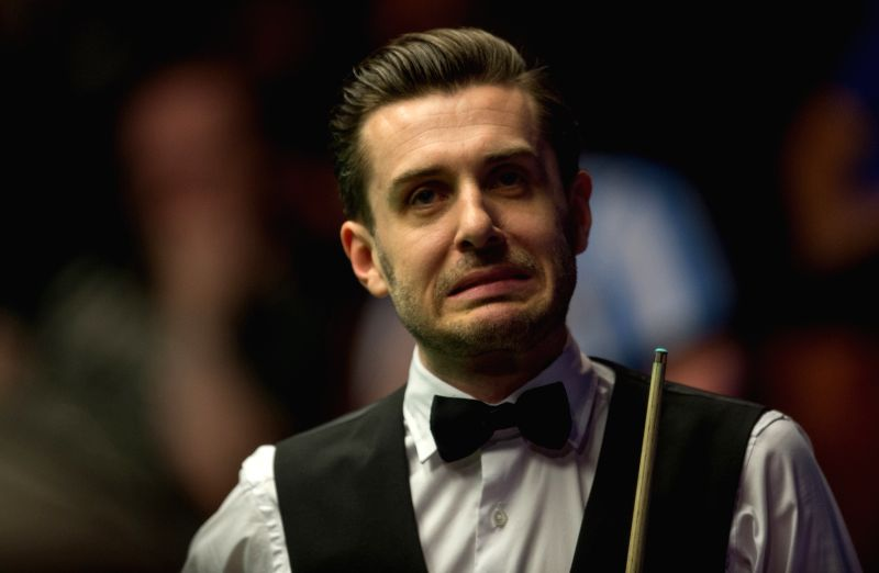 SHEFFIELD, April 26, 2017 - Mark Selby from England reacts during his quarterfinal match against Marco Fu from Hong Kong of China during the World Snooker Championship 2017 at the Crucible Theater in ...