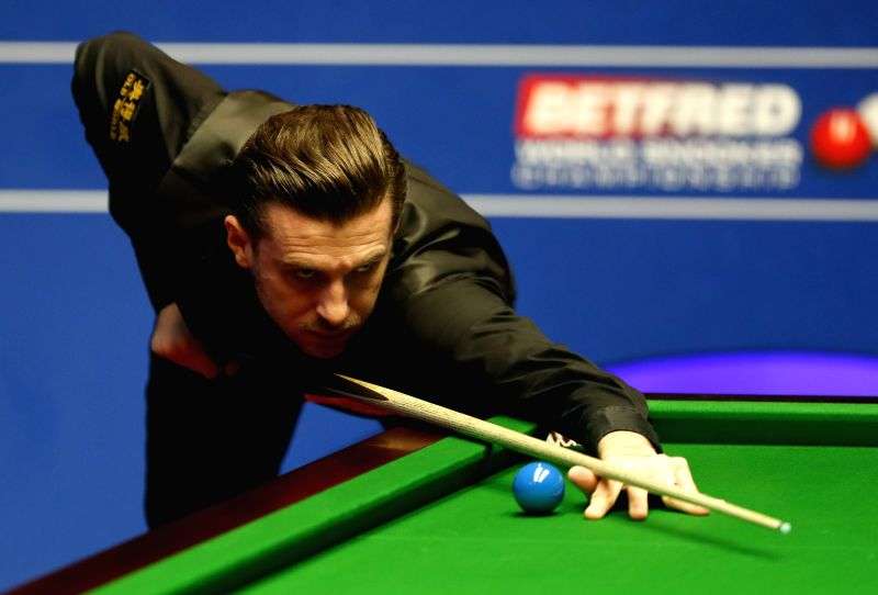SHEFFIELD, April 26, 2017 - Mark Selby of England competes during the second session of quarterfinal match against Marco Fu of China's Hong Kong at the World Snooker Championships 2017 at the ...