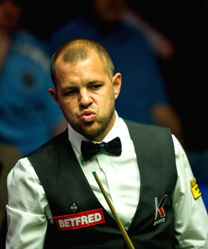 SHEFFIELD, April 27, 2017 - Barry Hawkins of England competes during the third session of the quarterfinal match against Stephen Maguire of Scotland during the World Snooker Championship 2017 at the ...