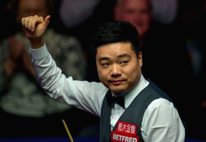 SHEFFIELD, April 27, 2017 - Ding Junhui of China celebrates after winning the quarterfinal match of the World Snooker Championship 2017 against Ronnie O'Sullivan of England at the Crucible Theatre in ...