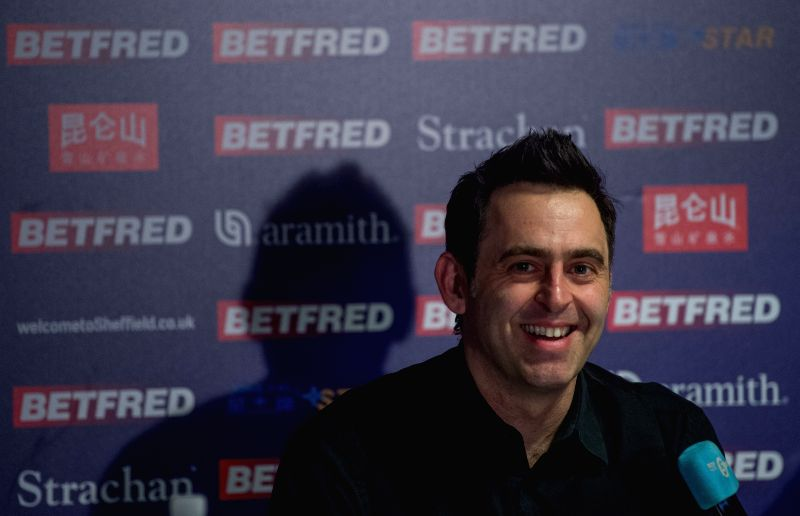 SHEFFIELD, April 27, 2017 - Ronnie O'Sullivan of England attends the press conference after he lost to Ding Junhui of China in their quarterfinal match of World Snooker Championship 2017 at the ...
