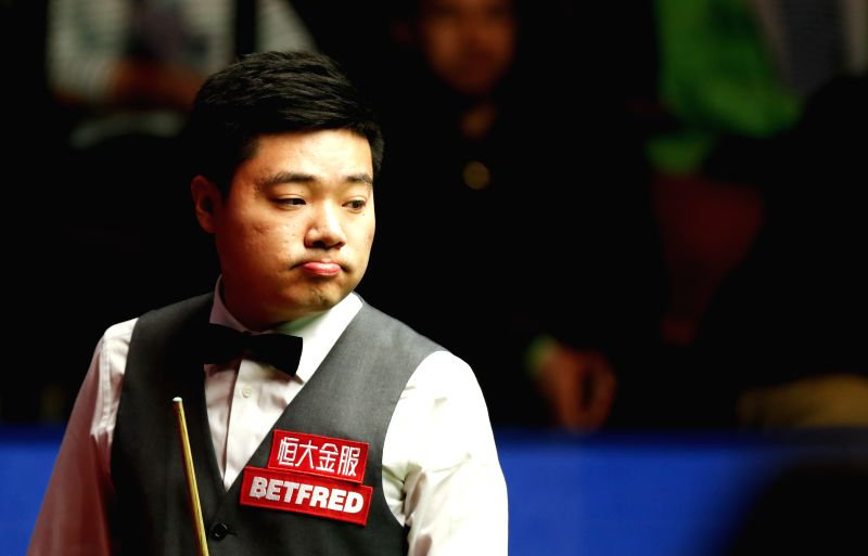 SHEFFIELD, April 29, 2017 - Ding Junhui of China reacts during the third session of the semifinal against Mark Selby of England during the World Snooker Championship 2017 at the Crucible Theatre in ...