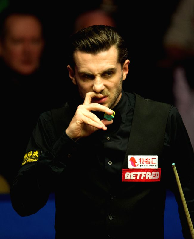 SHEFFIELD, April 29, 2017 - Mark Selby of England reacts during the third session of the semifinal against Ding Junhui of China during the World Snooker Championship 2017 at the Crucible Theatre in ...
