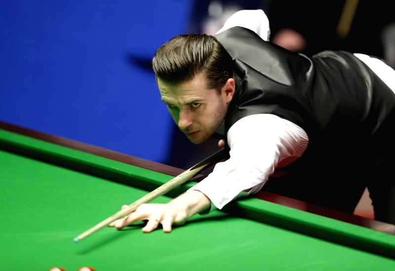 SHEFFIELD, April 30, 2017 - Mark Selby of England competes during the final match against John Higgins of Scotland at the World Snooker Championship 2017 at the Crucible Theatre in Sheffield, ...