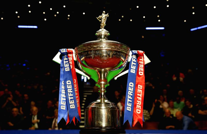 SHEFFIELD, April 30, 2017 - The trophy is placed on the table before the final match between Mark Selby of England and John Higgins of Scotland at the World Snooker Championship 2017 at the Crucible ...