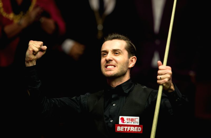 SHEFFIELD, May 1, 2017 - Mark Selby of England celebrates victory after the final with John Higgins of Scotland at the World Snooker Championship 2017 at the Crucible Theatre in Sheffield, Britain on ...