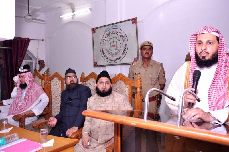 Sheikh Abdur-Rahman Al-Sudais, Imam, Ka'ba, Mecca, Saudi Arabia addresses during a programme in Lucknow, on April 4, 2016.