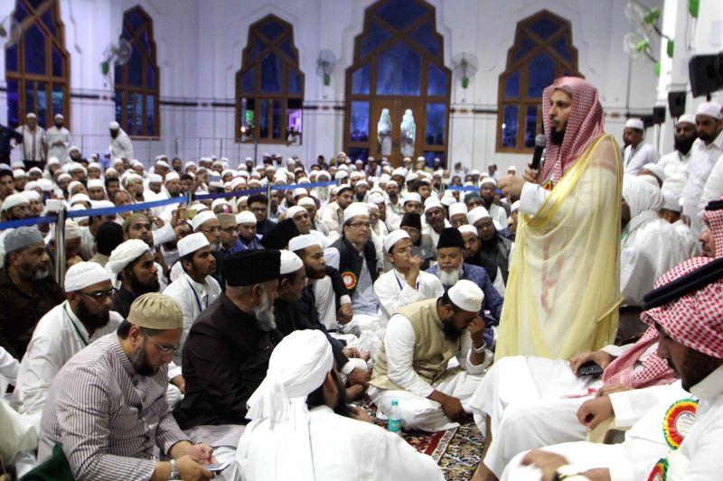 Sheikh Abdur-Rahman Al-Sudais, Imam, Ka'ba, Mecca, Saudi Arabia at Jamia Islamia Darul Uloom in Hyderabad on April 6, 2016.