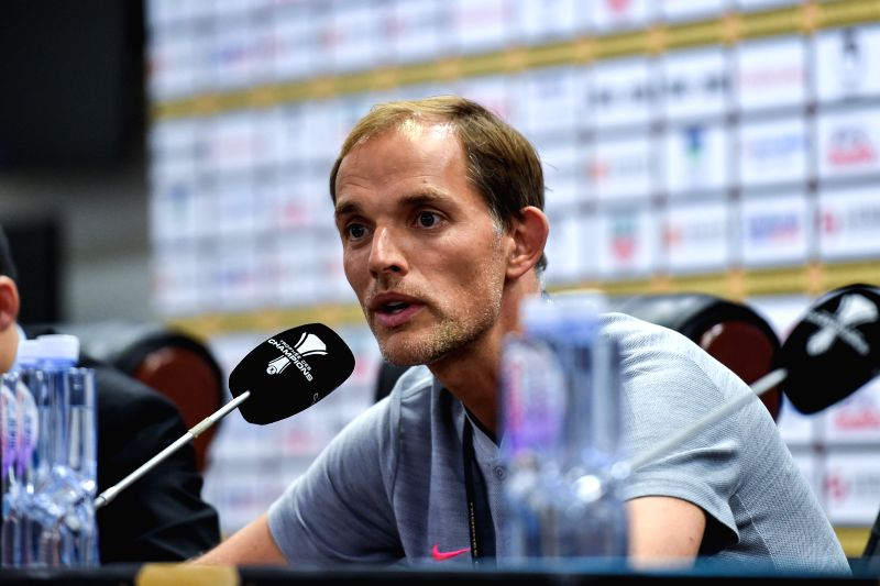 SHENZHEN, Aug. 3, 2018 - Paris Saint-Germain's head coach Thomas Tuchel attends a news conference on the eve of the French Trophy of Champions football match between Monaco and Paris Saint-Germain at ...