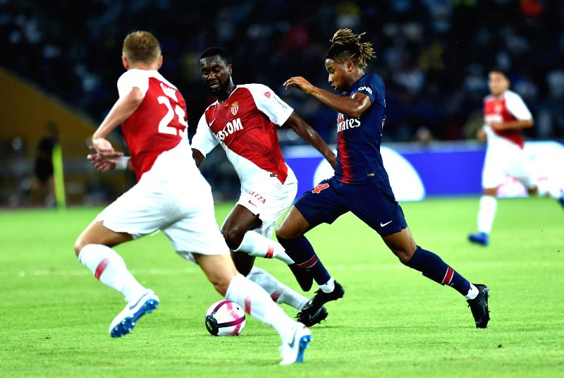 SHENZHEN, Aug. 4, 2018 - Paris Saint-Germain's Christopher Nkunku (R) competes during the French Trophy of Champions football match between Monaco and Paris Saint-Germain at Universiade Stadium in ...