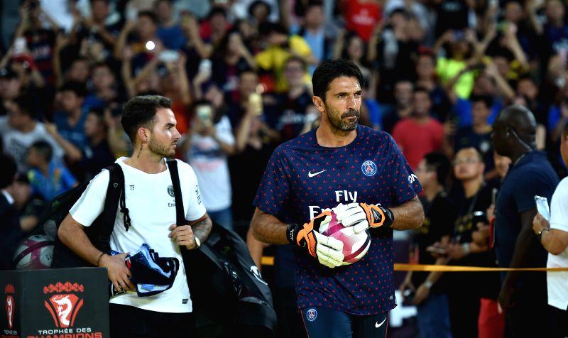 SHENZHEN, Aug. 4, 2018 - Paris Saint-Germain's goalie Gianluigi Buffon (R) looks on before the French Trophy of Champions football match between Monaco and Paris Saint-Germain at Universiade Stadium ...