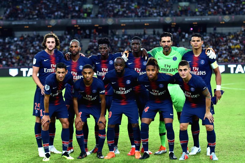 SHENZHEN, Aug. 4, 2018 - Players of Paris Saint-Germain line up before the French Trophy of Champions football match between Monaco and Paris Saint-Germain at Universiade Stadium in Shenzhen, south ...