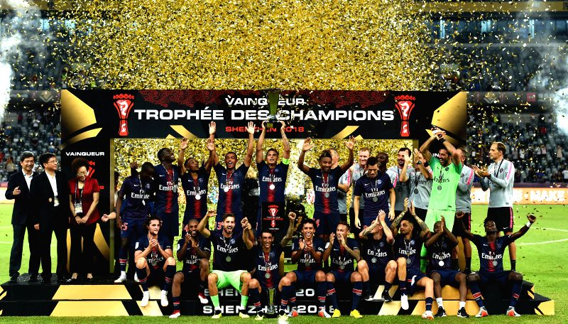 SHENZHEN, Aug. 4, 2018 - Team members of Paris Saint-Germain's celebrate with the trophy after winning the French Trophy of Champions football match between Monaco and Paris Saint-Germain at ...
