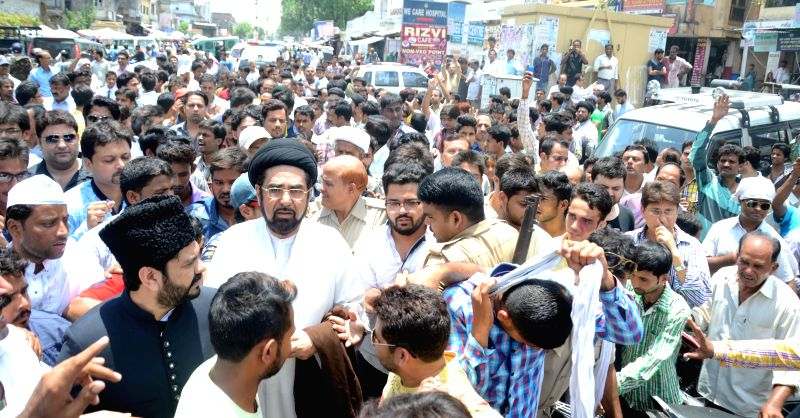 Shia cleric Maulana Kalbe Jawad and his supporters demand removal of Shia Waqf Board chairman Syed Waseem Rizvi in Lucknow, on July 27, 2015.