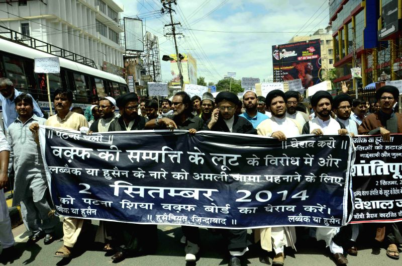 Shiaites stage a demonstration against Shia Waqf Board chairman in Patna on Sept 2, 2014.