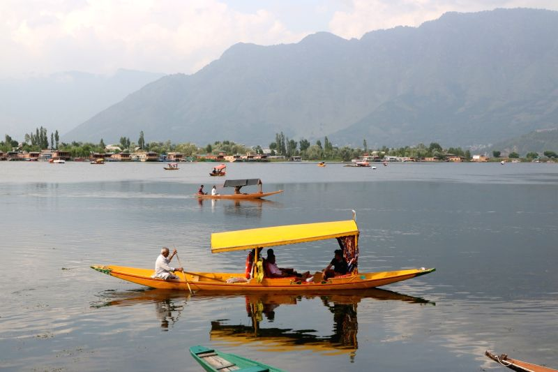 Shikara seen on Srinagar's Dal Lake on July 18, 2018.