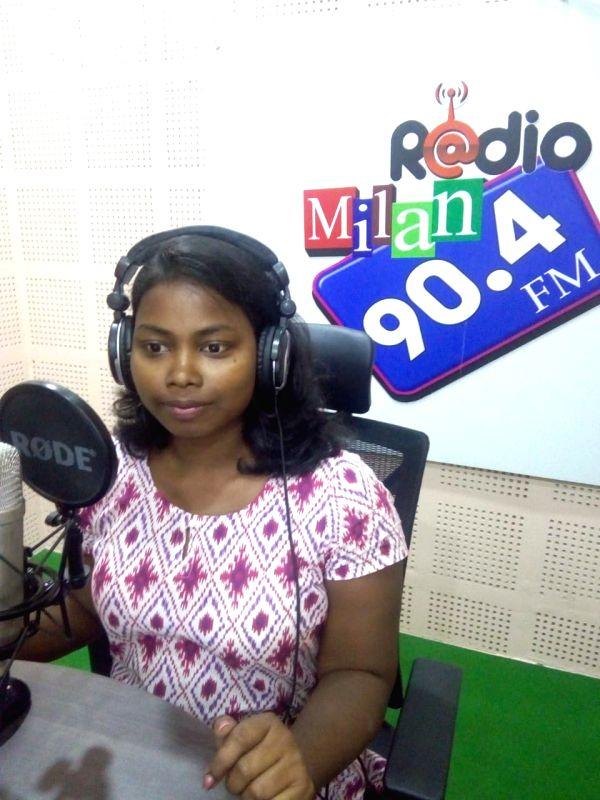 Shikha Mandi, 24, the first Indian radio jockey (RJ) to host a programme in the indigenous Santhali language.