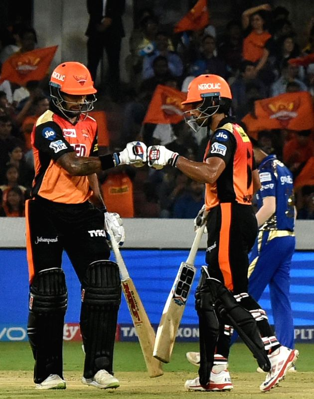 Shikhar Dhawan and Wriddhiman Saha of Sunrisers Hyderabad during an IPL 2018 match between Sunrisers Hyderabad and Mumbai Indians at Rajiv Gandhi International Cricket Stadium in Hyderabad ... - Shikhar Dhawan