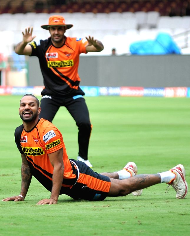 Shikhar Dhawan of Sunrisers Hyderabad during a practice session at Chinnaswamy Stadium in Bengaluru on April 24, 2017. - Shikhar Dhawan