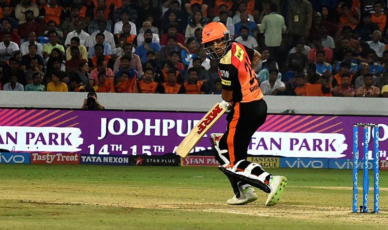 Shikhar Dhawan of Sunrisers Hyderabad during an IPL 2018 match between Sunrisers Hyderabad and Mumbai Indians at Rajiv Gandhi International Cricket Stadium in Hyderabad on April 12, 2018. - Shikhar Dhawan