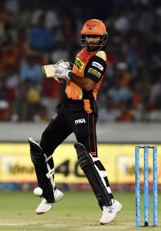 Shikhar Dhawan of Sunrisers Hyderabad in action during an IPL match between Sunrisers Hyderabad and Delhi Daredevils at Rajiv Gandhi International Stadium in Hyderabad on May 12, 2016. - Shikhar Dhawan
