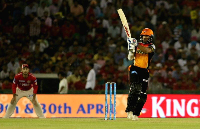 Shikhar Dhawan of Sunrisers Hyderabad in action during an IPL 2017 match between Sunrisers Hyderabad and Kings XI Punjab at Punjab Cricket Association IS Bindra Stadium in Mohali on April 28, ... - Shikhar Dhawan