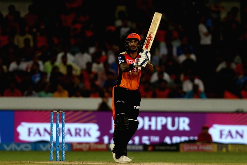 Shikhar Dhawan of Sunrisers Hyderabad in action during an IPL 2018 match between Sunrisers Hyderabad and Mumbai Indians at Rajiv Gandhi International Cricket Stadium in Hyderabad on April ... - Shikhar Dhawan