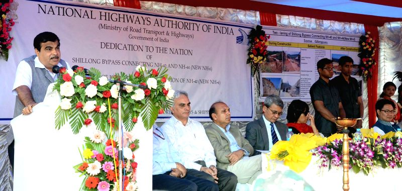 The Union Minister for Road Transport and Highways, and Shipping Nitin Gadkari addresses at the dedication ceremony of the Shillong Bypass connecting NH-40 and NH-44 (New NH-6) to the ...